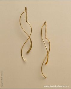 Pure Gold earring in 22carat in a modern and elegant design http://www.sakhifashions.com/new-arrivals-2/aj-0077-strand-earring.html