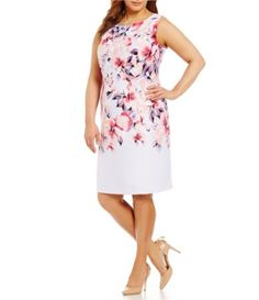 Leslie Fay Plus Floral Scuba Sheath Dress | Dillards