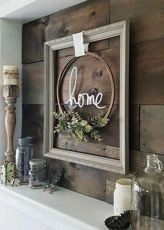 Recreate this Look Modern Farmhouse Framed Embroidery Hoop is part of Farmhouse decor - Get this Look! Recreate this modern farmhouse framed embroidery hoop vignette! Find out how you can have it in your home too! Farmhouse Frames, Country Farmhouse Decor, Rustic Decor, Farmhouse Style, Farmhouse Shelving, Farmhouse Mantel, Fresh Farmhouse, Modern Farmhouse, Farmhouse Design