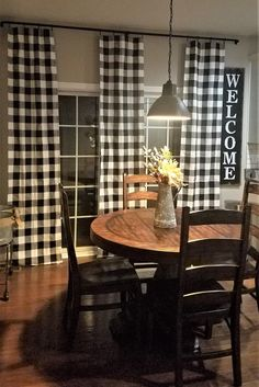 Black and White Buffalo Check Plaid Curtains Farmhouse. Available with Blackout, Thermal or Stain Resistant Cotton Lining (see description below). Includes One Pair of or wide drapes (see size Home Decor Kitchen, Farmhouse Kitchen Curtains, Farm House Living Room, Dining Room Curtains, Dining Room Design, Farmhouse Style Dining Room, Home Decor, Living Room Lighting, Modern Farmhouse Kitchens