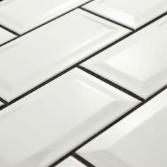 Merola Tile Park Slope Subway Beveled Glossy White 3 in. x 6 in. Ceramic Wall Tile (17 sq. ft. / case)