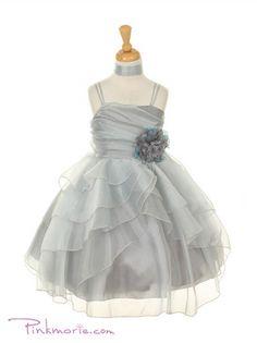 Silver Cute Lively Asymmetric Layered Ruffle Flower Girl Dress