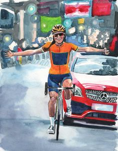 Watercolor painting of Lizzie Deignan, winning the 2017 Tour of Yorkshire, by artist Rachel Petruccillo