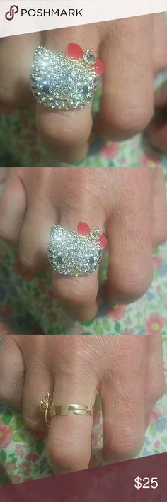 Hello kitty ring .Hello kitty crystal ring Brand new with red now hello kitty adjustable ring very nice Hello Kitty Jewelry Rings