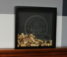 DIY wine cork holder shadow box with instructions.