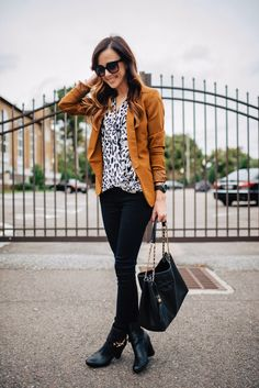 black and white leopard button-up, camel blazer, black skinnies, black booties