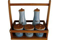 Condiments Set, 6 Pieces Condiment Sets, Vintage Market, Vintage Furniture, Antiques, Home, Mustard, Vintage Marketplace, Antiquities, Antique