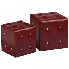 Set of 2 Stools, Red Crocodile Leather Effect, With Diamante Detail Contemporary Lounge, How To Dress A Bed, Upholstered Stool, Storage Stool, Round Stool, Cube Design, Dressing Mirror, Modern Stools, Vanity Stool