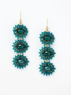 Green / Teal Multi-Circle Drop Earrings by Miguel Ases