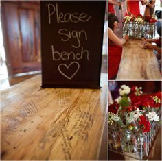 Rustic chic guest book idea: wooden bench guest book ~ Photo: The Silhouette Studio