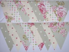 GREEN CREAM VINTAGE STYLE FABRIC Wedding Christening Party BUNTING 8M, 26FT NEW