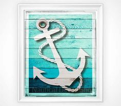 Nautical Decor, Rustic Anchor Print, Rustic Nautical Anchor Print, Sailing Nursery, Beach House Decor Faux Wood Art, Rustic Wall Decor