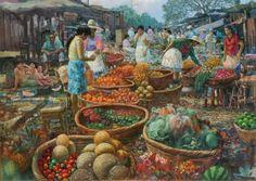 Pintor: Fran   Titulo: Mercado Oriental     Titulo: Mercado Oriental   Tamaño: 120 cm x 160 cm   Técnica: Oleo sobre tela   Colección Restaurante Galería La Marseillaise