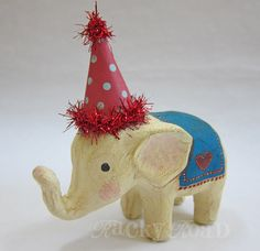 RESERVED: Custom Turquoise and Red Circus Elephant. 30.00, via Etsy.
