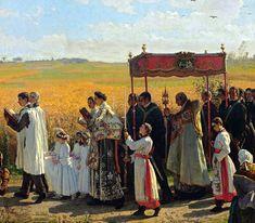 Blessing of the Wheat Fields in Artois, Jules Breton, Rogation days Religious Images, Religious Art, Catholic Art, Roman Catholic, Jules Breton, Catholic Pictures, Religion Catolica, Les Religions, Sacred Art