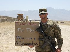 A member of Team Hope For The Warriors honors his fellow service members while he is serving in Afghanistan.  (www.hopeforthewarriors.org)