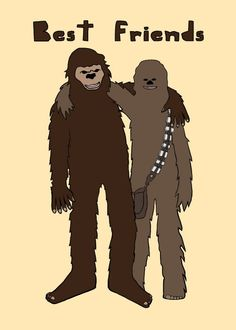 Big foot and Chewbacca are best friends 5x7 print by linedraw, $15.00