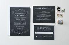 黒板の結婚式の招待状