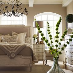 "Stanley Furniture""The Classic Portfolio European Cottage Upholstered Bedroom Set Dream Bedroom, Home Bedroom, Master Bedroom, Bedroom Decor, Bedroom Furniture, Bedroom Designs, Furniture Decor, Ivory Bedroom, Pretty Bedroom"