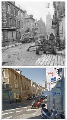 Carri armati Sherman e cannone anticarro  all'angolo di Rue du Vaugueux. Caen   #NORMANDIA1944