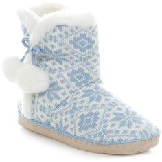 Light Blue Fairisle Knit Boot Slippers ($9.42) ❤ liked on Polyvore featuring shoes, slippers, pajamas and boots