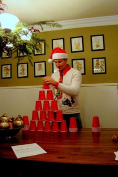 Minute To Win It Christmas Party - game ideas and photos, and templates to download.
