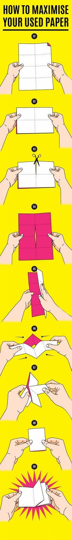 1枚の紙で8ページのメモ帳を作る方法