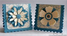 handmade mini-cards with layered flowers ... vanilla and blue ... Stampin' Up!