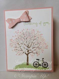 Inspired Stamping by Janey Backer: Embossing Extravaganza, Sheltering Tree, bike, emboss, Bow builder punch