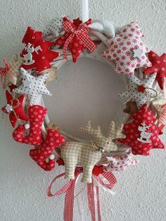 Türkranz Weidenkranz Sterne aus Tilda Stoff Landhaus Weihnachten Advent Shabby 2