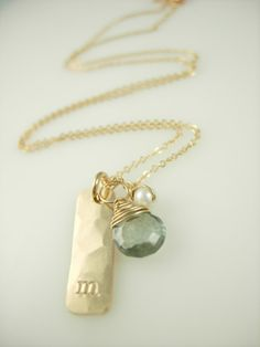 Personalized Initial Necklace - Personalized Gold Bar Necklace - 14k gold fill - sterling silver on Etsy, $45.00