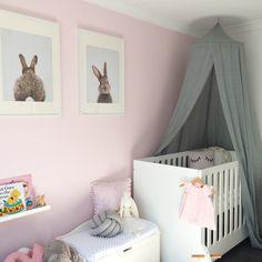 Baby girl nursery. Grey, pink, white gold nursery with Bunny theme.