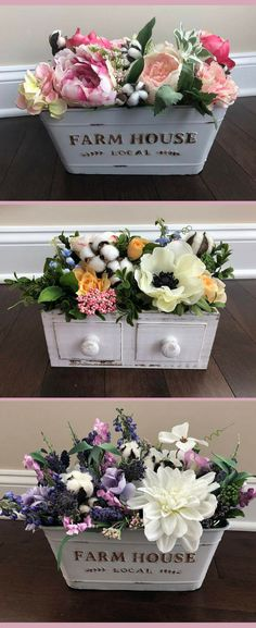 Farmhouse Table Decor Spring Floral Arrangement Dining Room