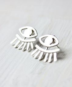 Evil Eye Earrings ear jackets sterling silver by ElisabethSpace