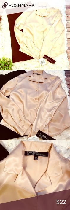 Kasper dressy blouse. NWT Beautiful golden color, silky blouse- perfect for work. NWT Kasper Tops Blouses