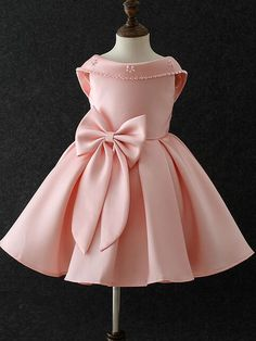 Bow Holidays Turn-down Collar Sleeveless Blackless Mini DressEmbroidery Lace StereoFlowers Party Holidays V-Neck Collar Long Sleeves Mini Dress Baby Girl Party Dresses, Party Dresses For Women, Little Dresses, Little Girl Dresses, Baby Dress, Cute Dresses, Girls Dresses, Flower Girl Dresses, African Dresses For Kids