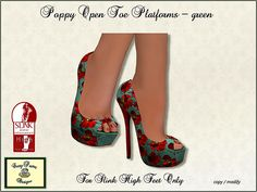 Pretty Poppy open toe platform shoes for Slink High Feet in Second Life