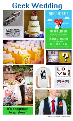 Geek Inspired Wedding theme for Gamers  - for the nerd lovers and video game players, here are some 8 bit geek wedding ideas. ♥  Repinned by Annie @ www.perfectpostage.com