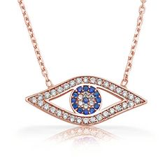 Sterling Silver Rose Gold Vermeil Sapphire CZ Evil Eye Necklace