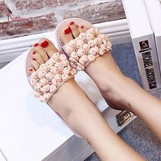 LQXZM La femme Sandales Printemps Été Automne occasionnels PU Confort Talon plat,Fleur,Rose US8 / EU39 / UK6 / CN39 - Chaussures lqxzm (*Partner-Link)