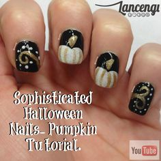 Bewitching and sophisticated Halloween Nail Art check out www.Lancengi.com for more easy nail art ideas - pumpkin nails