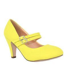 Look what I found on #zulily! Yellow Two-Strap Kimmy Pump #zulilyfinds