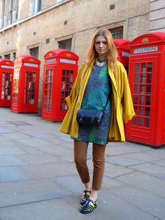 Bold jacket, printed dress worn over tights or fitted pants