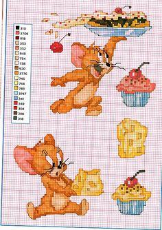 Il topo Jerry con il formaggio e i dolci punto croce