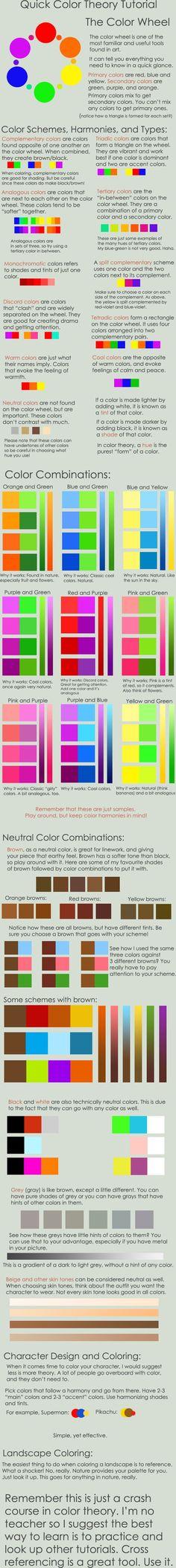 La teoría del color, simple guia para aprender a combinar colores. #infografia: