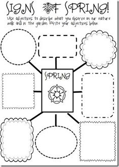 Free! Signs of Spring graphic organizer...great vocab activity for related items, adjectives...