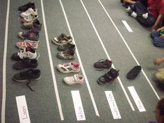 Concrete graph with shoes. All you need is tape, a floor, 1 shoe from each kid, and participation.