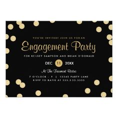 Faux Gold Confetti Engagement Party Invite.  Invitations are discount sale priced 40% OFF when you order 100+ Invites. #wedding  http://www.zazzle.com/faux_gold_confetti_engagement_party_invite-161300573607607496?rf=238133515809110851&tc=PinterestMsPlnr