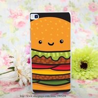 210HQA burger Hard White Painted Case Cover for Huawei Ascend P6 P7 P8 P8 Lite Colorful Protective Case
