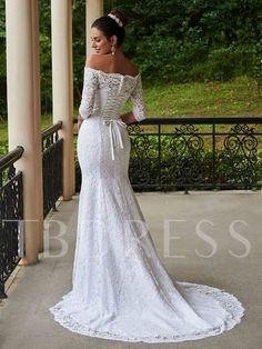 3 4 Sleeves Mermaid Lace Wedding Dress fa41efe79943